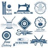 Costura del estilo del vintage y etiqueta del sastre ilustración del vector