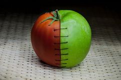 Costura do tomate de Apple Fotografia de Stock