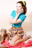Costura 'sexy' bonita da jovem mulher Foto de Stock Royalty Free