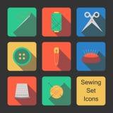 Costurando ícones ajustados Imagens de Stock