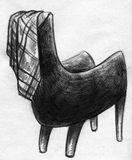 Cosy armchair sketch. Hand drawn pencil sketch of a cosy armchair with warm chequered plaid on it Royalty Free Stock Photos