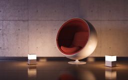 Cosy armchair with two lamps in interior Stock Photos