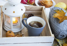 Cosy autumn with tea cup, lantern and knitting wool Royalty Free Stock Photo