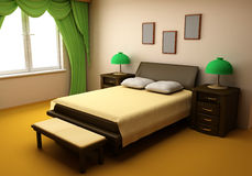 Cosy bedroom interior 3d Stock Images