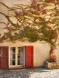 Cosy corner. A window with red jalousie and branches of an ivy on a wall of the house in settlement Verdon Stock Images