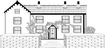 Cosy Cottage Sketch. Black and white fictional image of typical country cottage with pantile roof and stone walls and path to front vector illustration