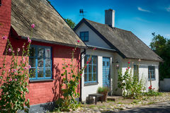 Colorful cottages. Cosy cottages a bright summer day stock photography