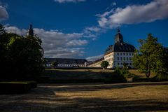 Cosy day in the park landscape in Gotha stock photography