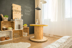 Cosy eco interior design. With upcycled furniture stock images