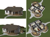 House model, 3D rendering Stock Photo
