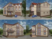 House model, 3D rendering Stock Images