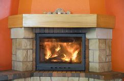 Cosy fireplace stock photos