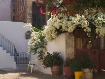 Cosy Greek patio Crete Royalty Free Stock Photo