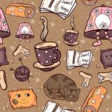 Cosy Home Seamless Pattern stock illustration