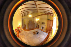 Cosy Old Cottage Interior Bedroom Stock Photo