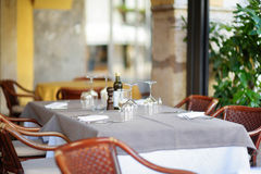 Cosy outdoor cafe in Desenzano del Garda town on a shore of Gadra lake stock image