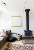 Cosy Retro Living Room Detail Of Wood Heater And Shag Pile Rug Royalty Free Stock Photos