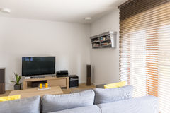Cosy room with plasma tv Stock Image