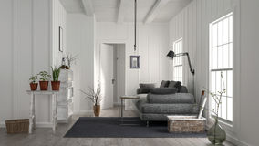 Cosy rustic white wood living room interior Royalty Free Stock Image