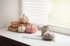 Cosy and soft winter, autumn, fall background, knitted decor and books on an windowsill. Christmas, thanksgiving holidays at home. Calmness closeup, weekend royalty free stock photo