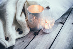 Cosy and soft winter background Stock Photo