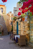 Cosy street of Chania, Crete, Greece Royalty Free Stock Photo