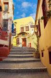Cosy street of Chania, Crete, Greece Royalty Free Stock Image