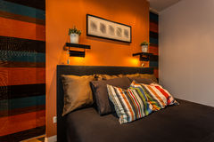 Cosy striped bedroom Royalty Free Stock Photography