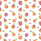Tea party watercolor seamless pattern royalty free illustration