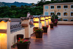 Cosy terrace is highlighted in yellow in Sardinia Stock Photography