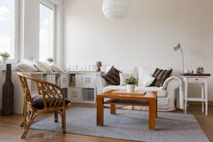 Cosy white living room. Image of cosy white living room in new style stock photography