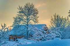 Cosy winter house Royalty Free Stock Images