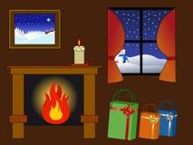 Cosy winter scene stock illustration