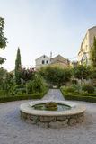 Cosy yard with fountain in Sibenik, Croatia Stock Photo