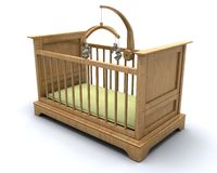 Cot for baby. 3D render of a cot for a baby Royalty Free Stock Photography