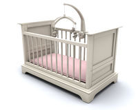 Cot for baby girl. 3D render of a cot for a baby girl Royalty Free Stock Photos