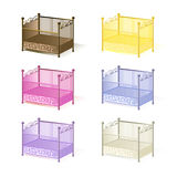 Cot , illustration set of cots assorted colors 3D in vector EPS Royalty Free Stock Images