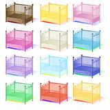 Cot , illustration set of cots assorted colors 3D in vector EPS Stock Photos