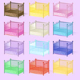 Cot , illustration set of cots assorted colors 3D in vector EPS Stock Photography