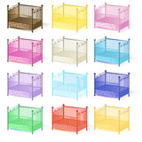 Cot , illustration set of cots assorted colors 3D in vector EPS Royalty Free Stock Photo