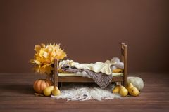 Cot for newborn children on a brown chocolate background with pears, pumpkins royalty free stock photos