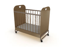 Cot on wheels with a mattress. 3D Royalty Free Stock Image