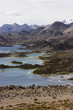 Cotacotani gaps in Lauca National Park Chile. Cotacotani ponds interconnected series of lagoons with water retained by volcanic formations Stock Photos