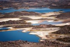 Cotacotanilagunes, veelvoudige die lagunes in de commune van Putre, provincie worden gevestigd van Parinacota, het Nationale Park stock afbeelding