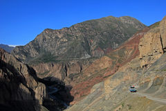 Cotahuasi Peru, van on road in canyon Royalty Free Stock Image