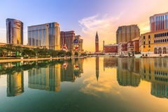 Cotai Strip Casino. Macau, China - December 9, 2016: Luxury resort Casino in Cotai Strip, The venetian Mall and Tower, Hard Rock, St Regis, Holiday Inn, Conrad Stock Image