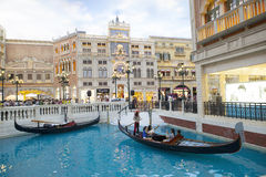 COTAI STRIP MACAU CHINA-AUGUST 22 visitor on gondola boat in Ven Royalty Free Stock Image