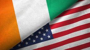 Cote d ?pa?o de la materia textil de las banderas de Ivoire y de Estados Unidos dos, textura de la tela ilustración del vector