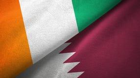 Cote d ?pa?o de la materia textil de las banderas de Ivoire y de Qatar dos, textura de la tela libre illustration