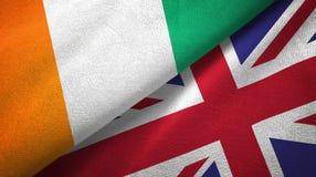 Cote d ?pa?o de la materia textil de las banderas de Ivoire y de Reino Unido dos, textura de la tela libre illustration